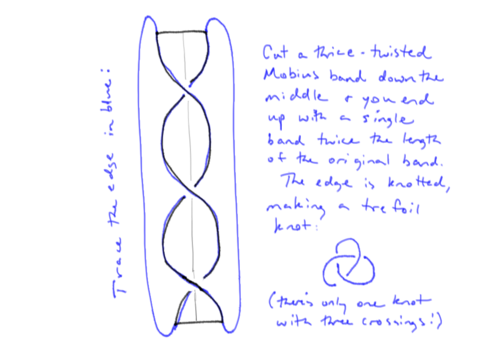"Cutting a thrice-twisted Mobius band ""in half"", it ends up as one longer six-twisted band. The single edge is knotted into a trefoil knot, as this diagram shows."